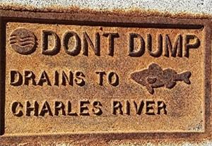 don't dump sign Boston Charles River basin